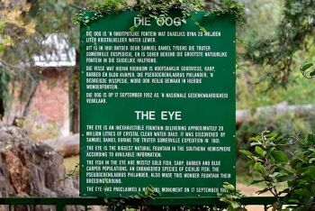 "Sign at ""The Eye"" in Kuruman, Northern Cape"